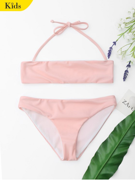 Ensemble Bikini à Col Halter Pour Enfant - ROSE PÂLE 7T