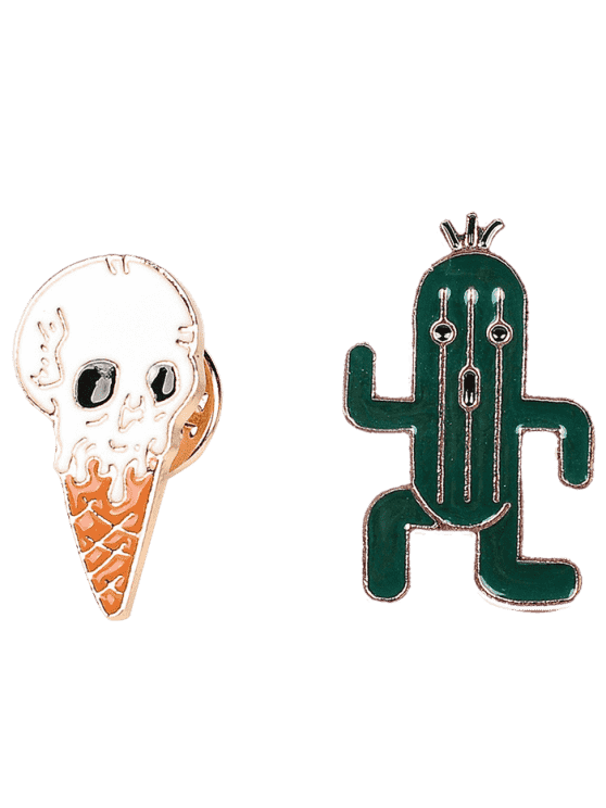 womens Cactus Skull Ice Cream Brooch Set - GREEN