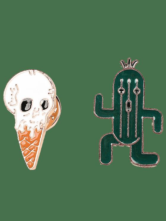 Cactus Skull Ice Cream Brooch Set - Vert