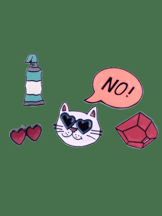 Ensemble drôle de coeurs de chat sans broche - Multicolore