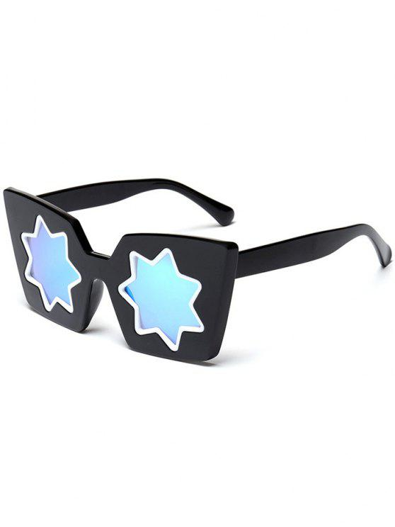lady Star Geometric Frame Mirror Reflective Sunglasses - BLUE