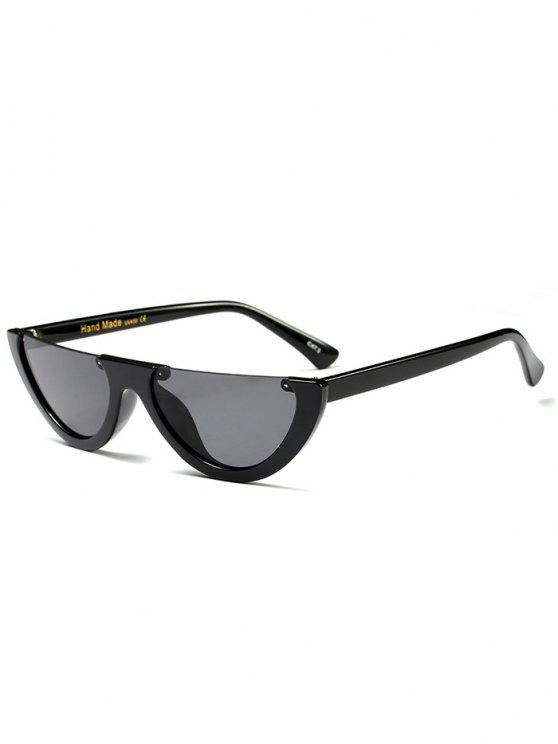 affordable Semilunar Semi-Rimless Sunglasses - BLACK