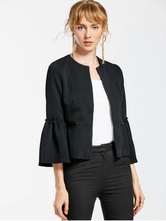 online Flare Sleeve Open Front Jacket - BLACK S
