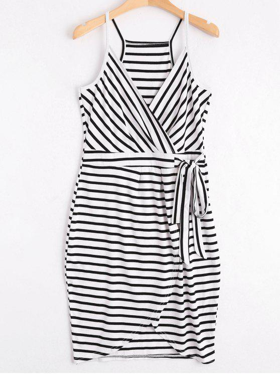 fancy Self Tie Striped Cami Dress - STRIPE XL