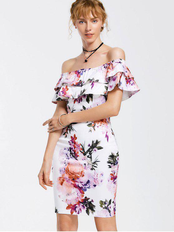 Floral Overlay Off Shoulder Bodycon Dress - Floral L