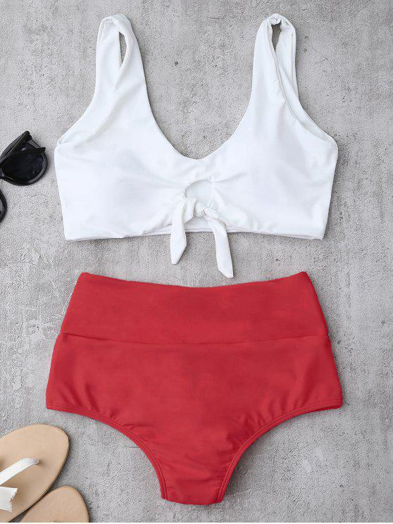 latest Knotted High Waisted Ruched Bikini Set - RED S