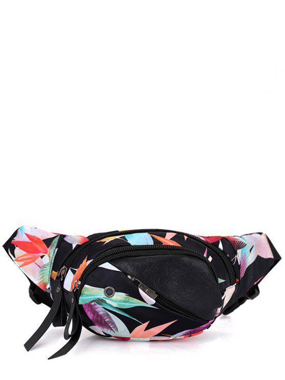 Bolso de la cintura convertible de la impresión floral - Negro Blanco