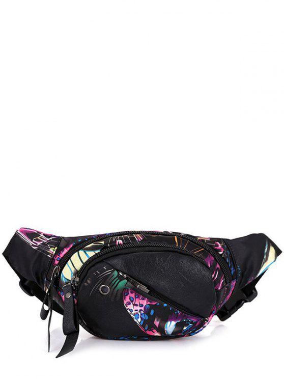 unique Floral Print Convertible Waist Bag - BLACK PURPLE