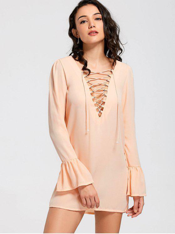 ladies Flare Sleeve Lace Up Shift Dress - ORANGE M