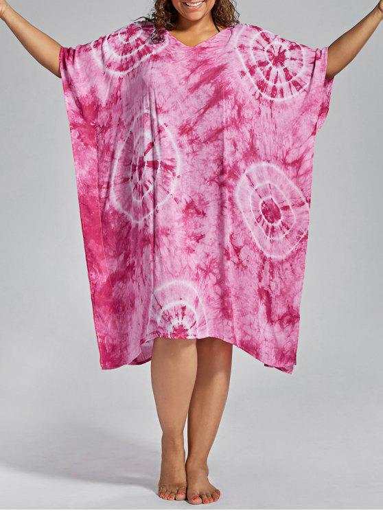 ladies Batwing Sleeve Plus Size Cover Up Dress - PINK ONE SIZE