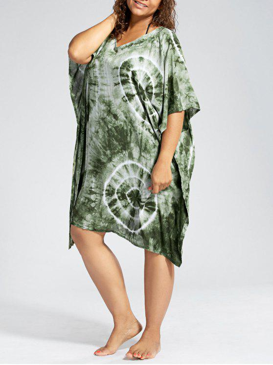 online Batwing Sleeve Plus Size Cover Up Dress - GREEN ONE SIZE