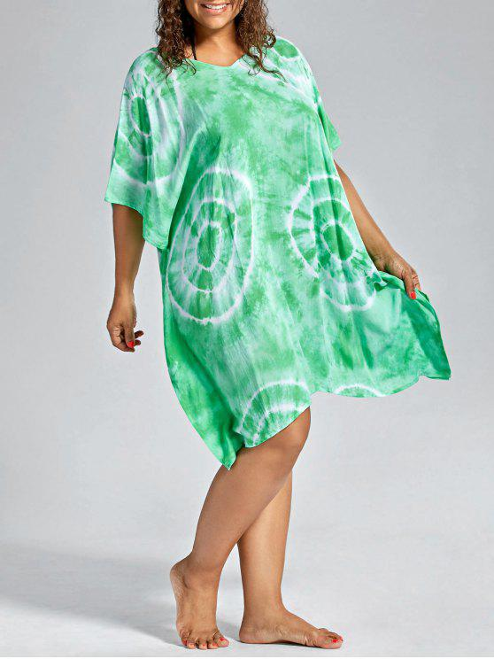 new Batwing Sleeve Plus Size Cover Up Dress - GRASS GREEN ONE SIZE