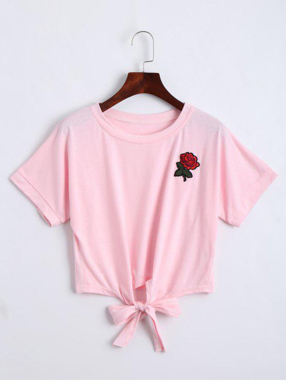 womens Bow Tied Floral Embroidered Cropped Top - PINK L