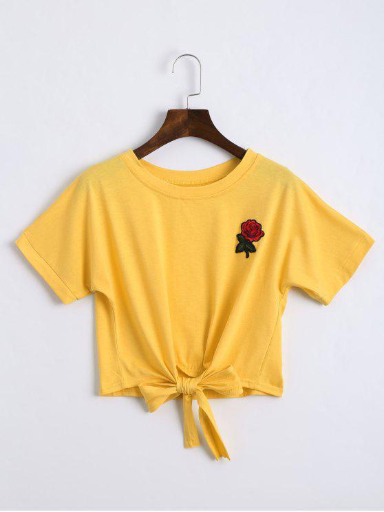 توب مقصر ربطة فراشية مطرز بالأزهار - الأصفر S