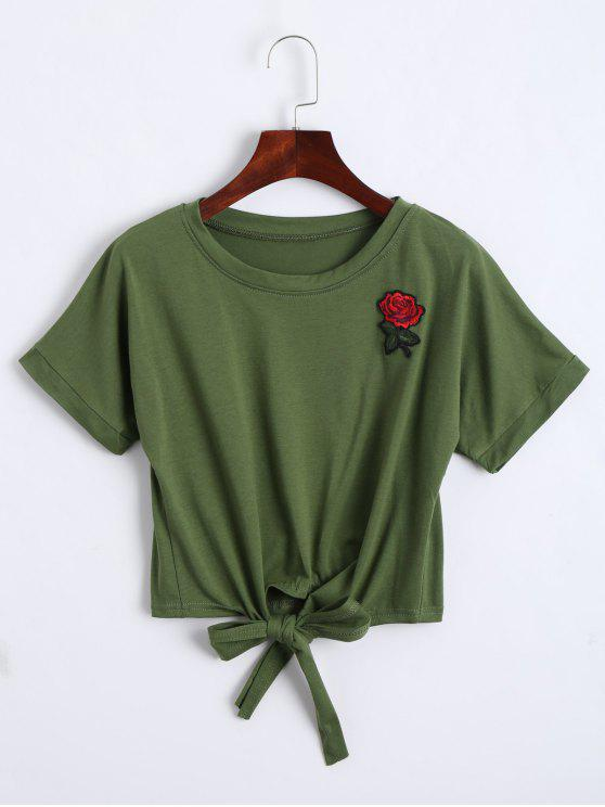 hot Bow Tied Floral Embroidered Cropped Top - ARMY GREEN L