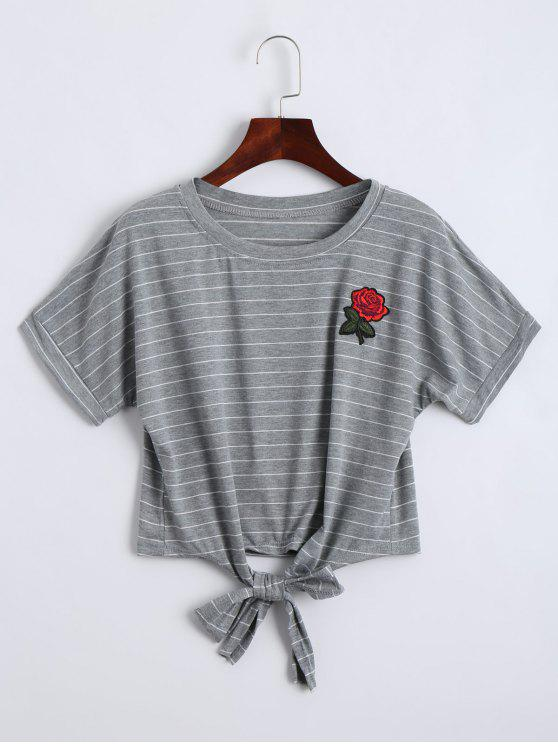 latest Bow Tied Stripes Embroidered Cropped Top - STRIPE M