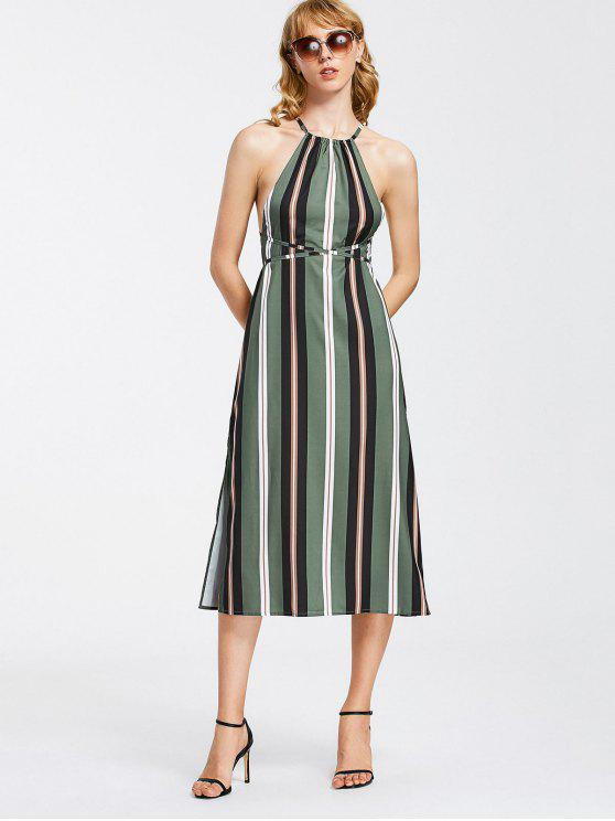 women's Strappy Stripes Backless Midi Dress - STRIPE S