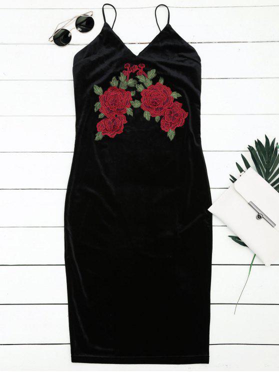 Vestido bordado floral del resbalón de la envoltura - Negro S