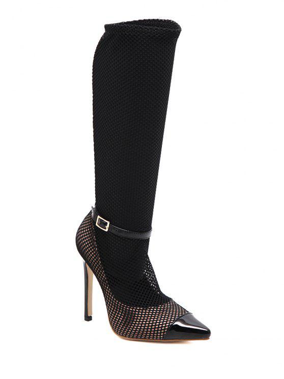 Mesh Stiefel mit Gürtelschnalle und Mini Absatz - Schwarz 40