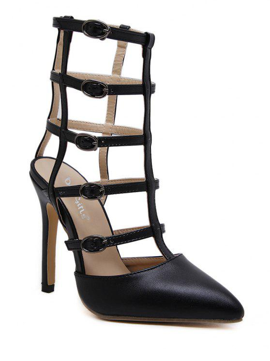 latest Pointed Toe Faux Leather Buckle Straps Pumps - BLACK 37