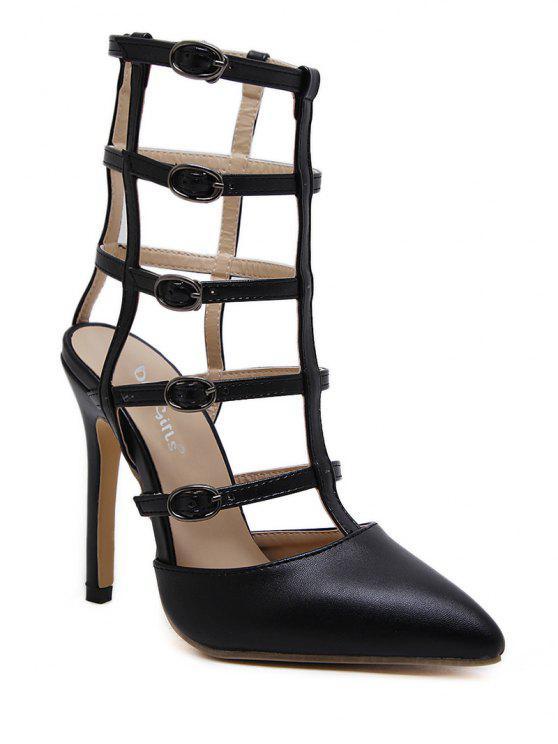 Chaussures à Bride à Boucle en Faux Cuir à Bout Poitu - Noir 37