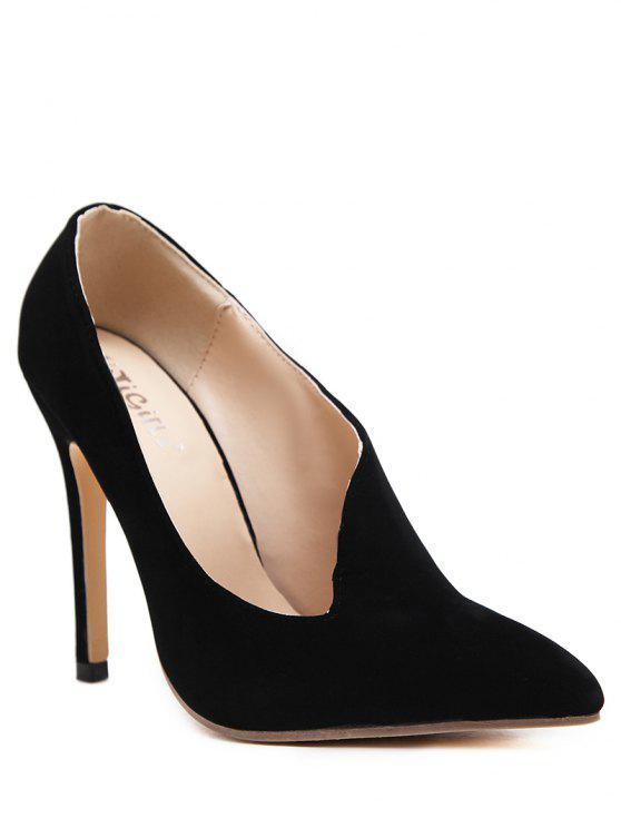 fancy Stiletto Heel Pointed Toe V Shape Pumps - BLACK 37
