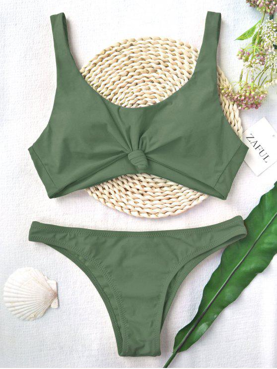 hot Knotted Scoop High Cut Bathing Suit - ARMY GREEN L