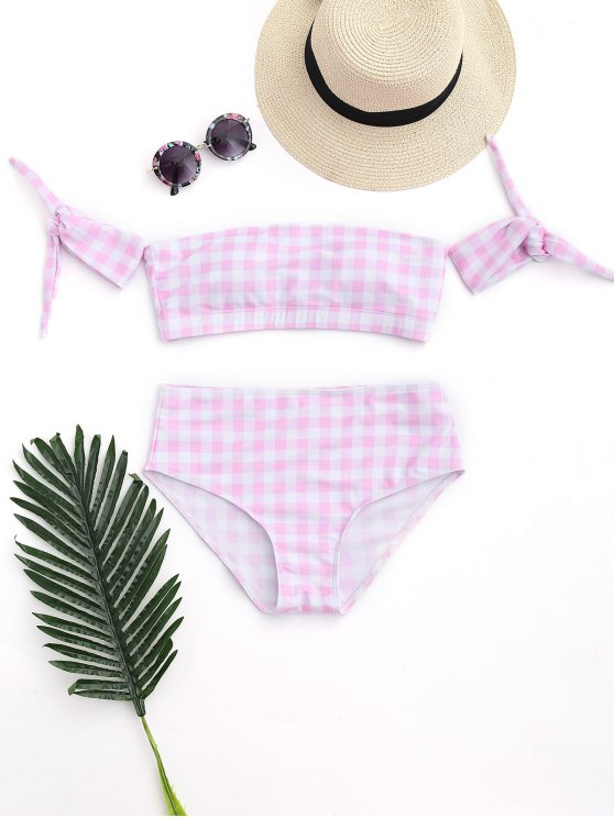 women Off Shoulder Checked High Waisted Bikini - PINK AND WHITE S