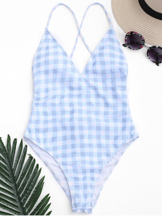 lady One Piece Checked High Cut Swimsuit - BLUE AND WHITE L