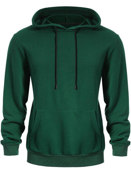 Pullover Felpa con cappuccio tasca del canguro - Verde L