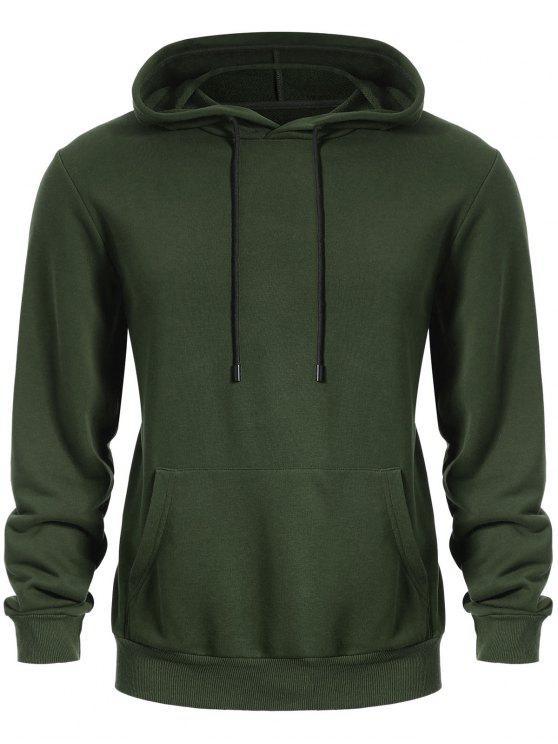 women Pullover Kangaroo Pocket Hoodie - ARMY GREEN L