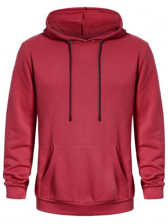 shop Pullover Kangaroo Pocket Hoodie - WATERMELON RED L
