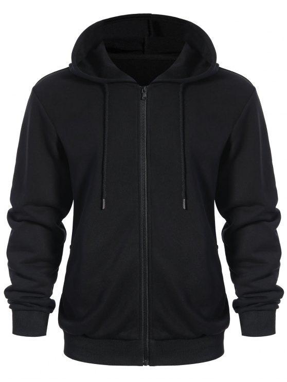 Poches Zip Up Hoodie - Noir 5XL