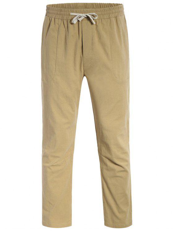 Casual Pockets Drawstring Pants - Kaki Clair 4XL
