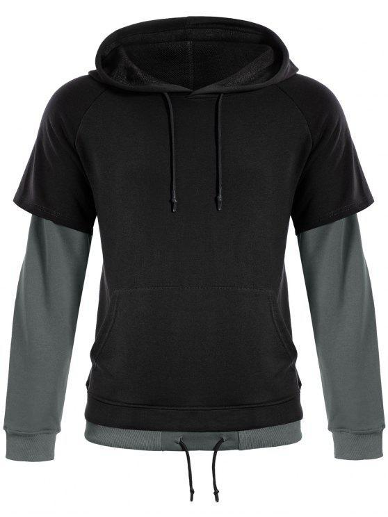 fashion Overlay Kangaroo Pockets Hoodie - BLACK L