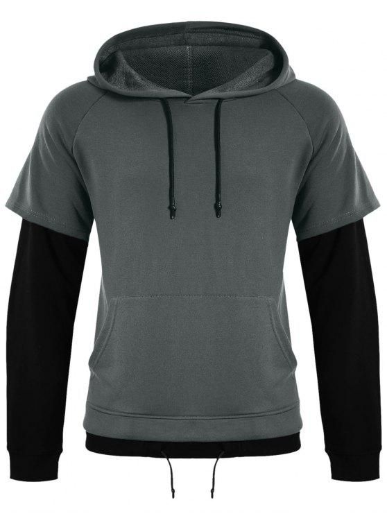 fancy Overlay Kangaroo Pockets Hoodie - GRAY 5XL