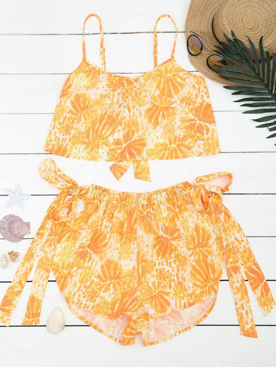 womens Bowknot Palm Tree Top and High Waisted Shorts - YELLOW M