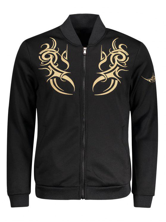 best Zippered Embroidered Bomber Jacket - BLACK 2XL
