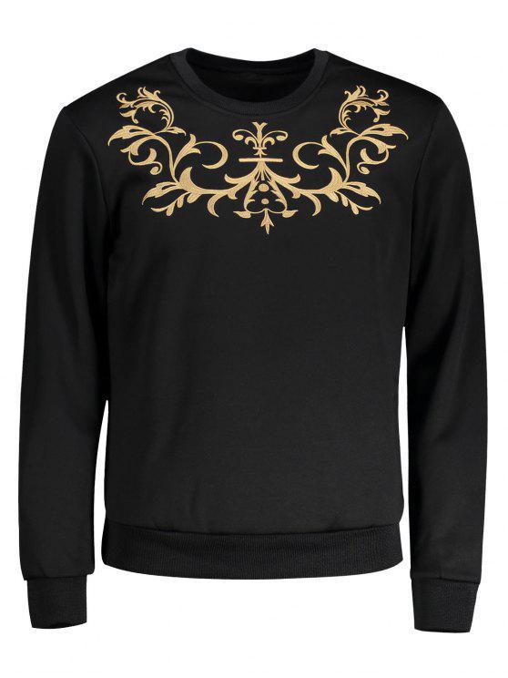Sweat-shirt Ras du Cou à Broderie - Noir 2XL