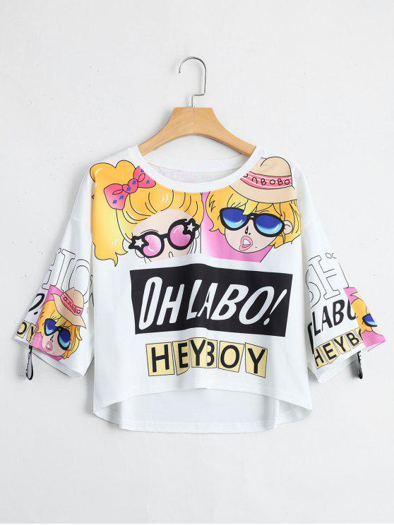 trendy Cartoon Letter Print Drop Shoulder Tee - WHITE ONE SIZE