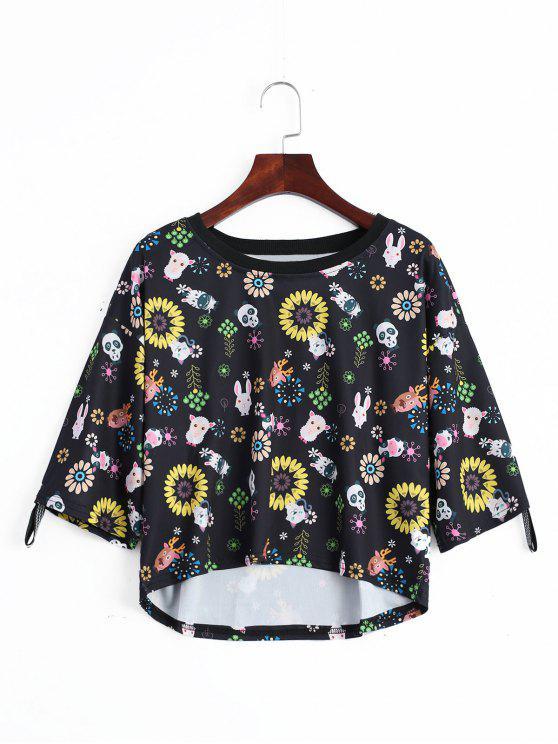 T-shirt Imprimé Floral Animal Épaule Tombante - Noir TAILLE MOYENNE
