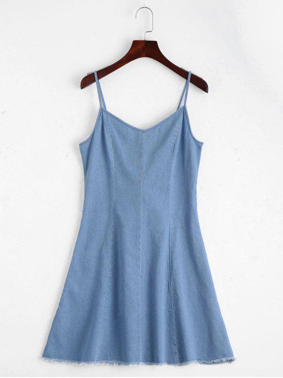 Vestido Lace Up Cami Denim - Azul claro L