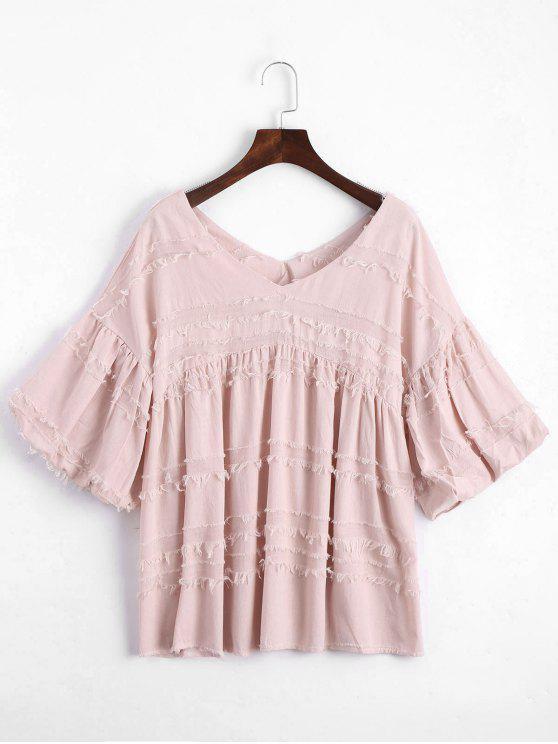 V-Ausschnitt Laterne Ärmel Uni Bluse - Pink S
