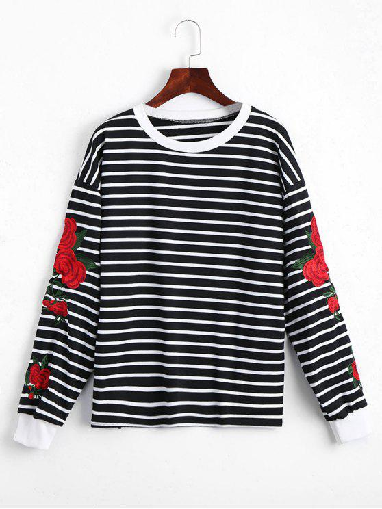 fancy Floral Patched Striped Sweatshirt - BLACK ONE SIZE