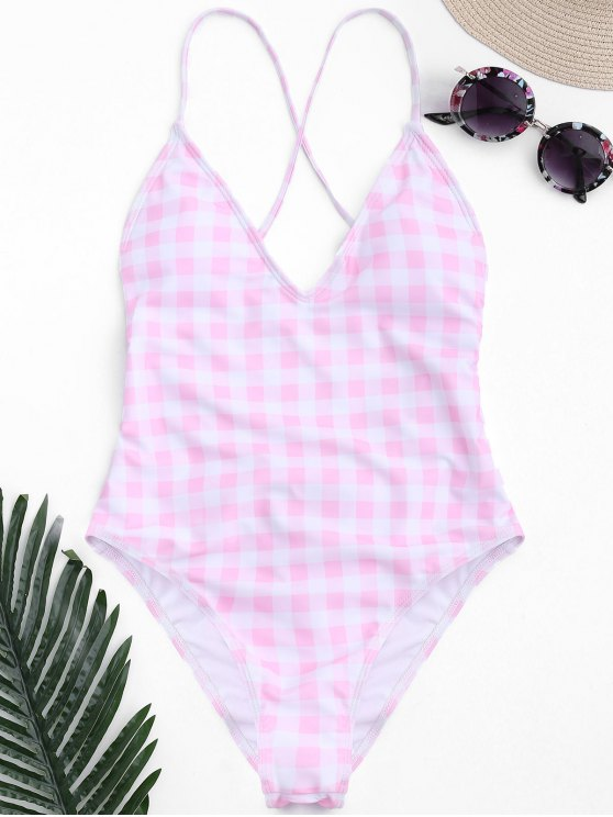 chic One Piece Checked High Cut Swimsuit - PINK AND WHITE S