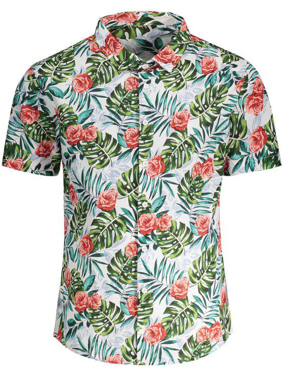 women's Short Sleeve Monstera Leaf Shirt - FLORAL 2XL