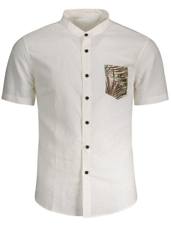 hot Linen Pocket Leaf Print Shirt - WHITE L