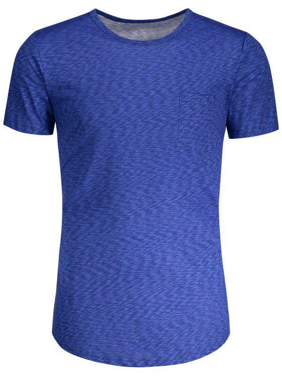T-shirt Bigarré à Poche - Bleu XL