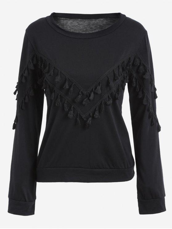 fashion Tassels Embellished Long Sleeve Tee - BLACK XL