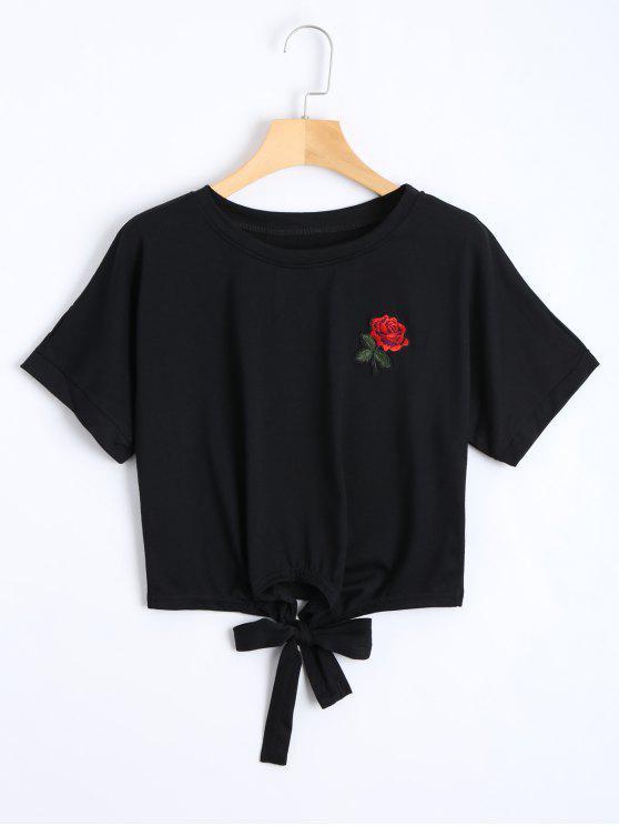 Arco atado floral bordado recortado Top - Negro S